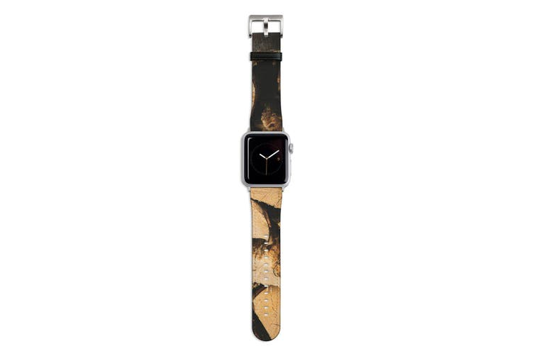 For Apple Watch Band 44mm/42mm PU Leather Silver Lugs  Wood Pile