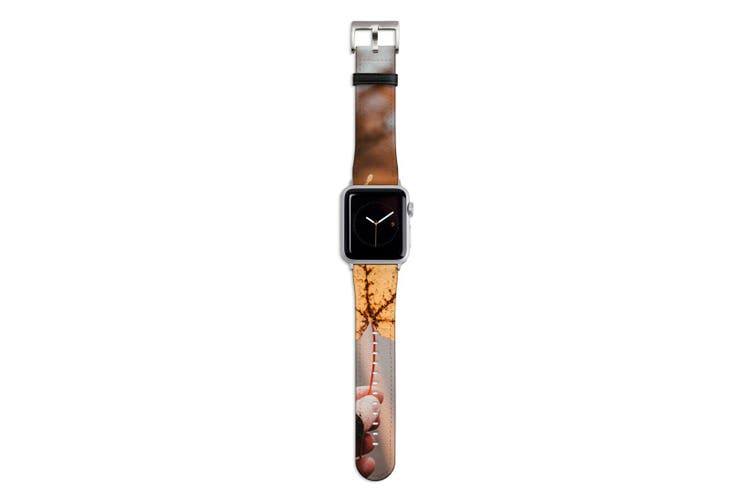 For Apple Watch Band 44mm/42mm PU Leather Silver Lugs  Yellow Maple Leaf