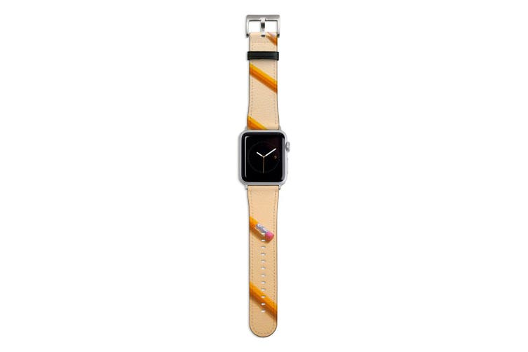 For Apple Watch Band 44mm/42mm PU Leather Silver Lugs  Yellow Pencils