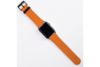 For Apple Watch Band (44 42mm) Vegan Leather Strap Black Buckle Orange