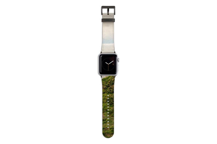 For Apple Watch Band 44mm/42mm PU Leather Black Lugs  Lamb Top Mountain