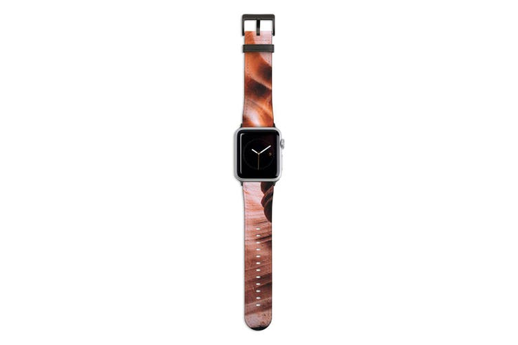 For Apple Watch Band 44mm/42mm PU Leather Black Lugs  Antelope Canyon