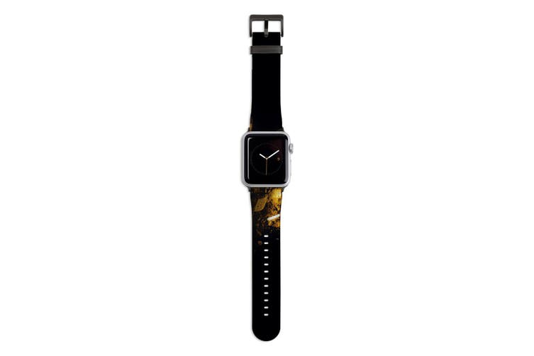 For Apple Watch Band 44mm/42mm PU Leather Black Lugs  Autumn Colors Makeup