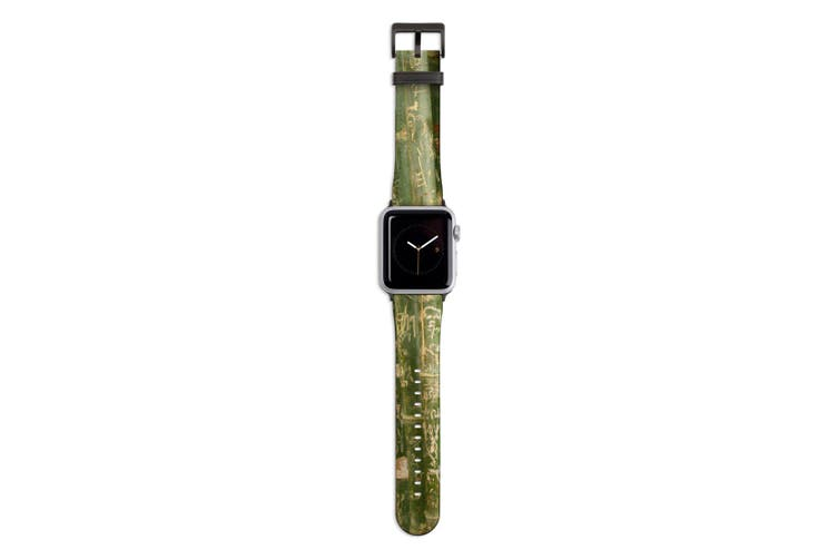 For Apple Watch Band 44mm/42mm PU Leather Black Lugs  Bamboo With Engravings