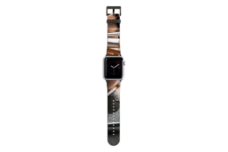 For Apple Watch Band 44mm/42mm PU Leather Black Lugs  Beauty Set