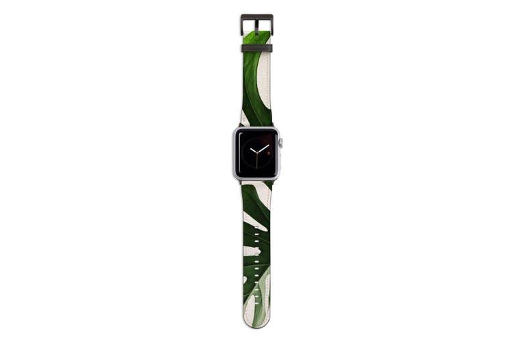 For Apple Watch Band 44mm/42mm PU Leather Black Lugs  Big Monstrera Plant