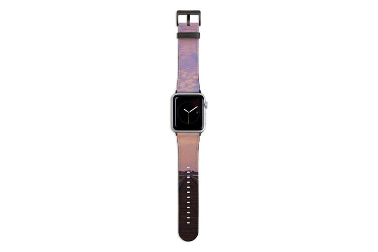 For Apple Watch Band 44mm/42mm PU Leather Black Lugs  Marsh Boardwalk