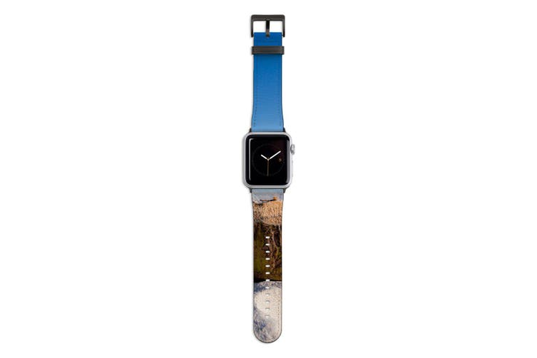 For Apple Watch Band 44mm/42mm PU Leather Black Lugs  Coconut Drink Beach