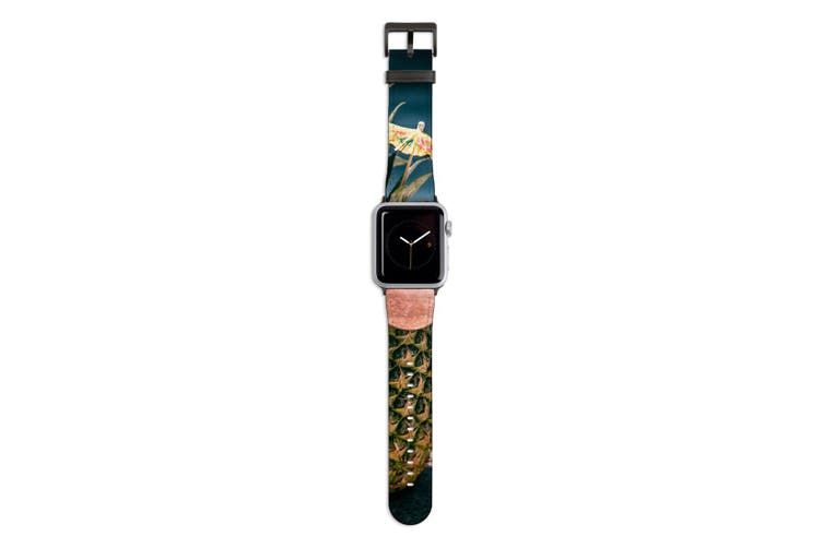For Apple Watch Band 44mm/42mm PU Leather Black Lugs  Cool Pool Pineapple