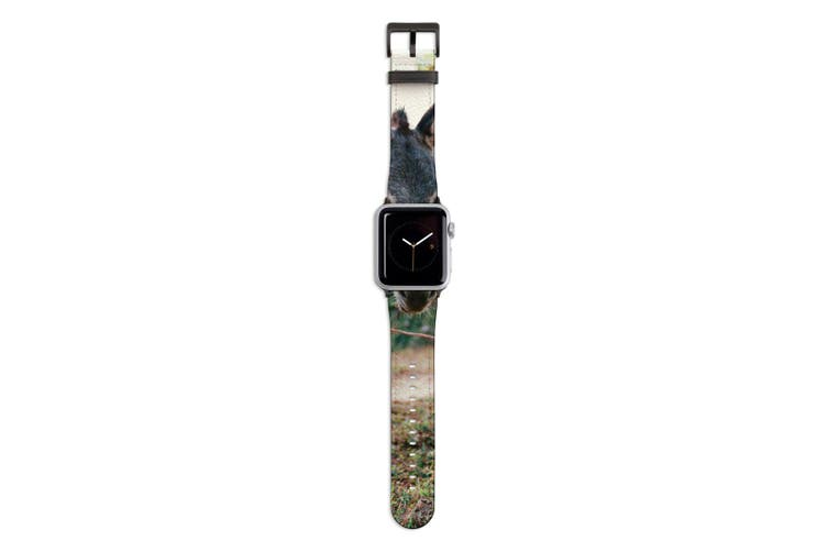 For Apple Watch Band 44mm/42mm PU Leather Black Lugs  Donkey Dirt Road