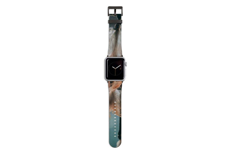 For Apple Watch Band 44mm/42mm PU Leather Black Lugs  Dream Feather