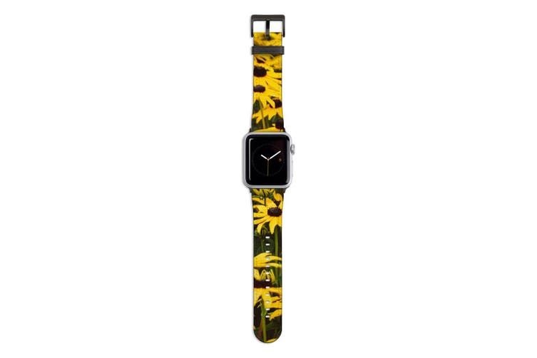 For Apple Watch Band 44mm/42mm PU Leather Black Lugs  Field Daisies
