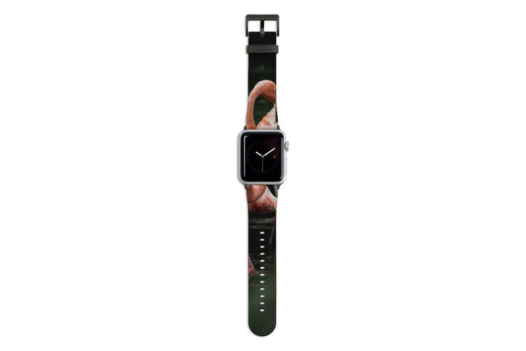 For Apple Watch Band 44mm/42mm PU Leather Black Lugs  Flamingo In Pond