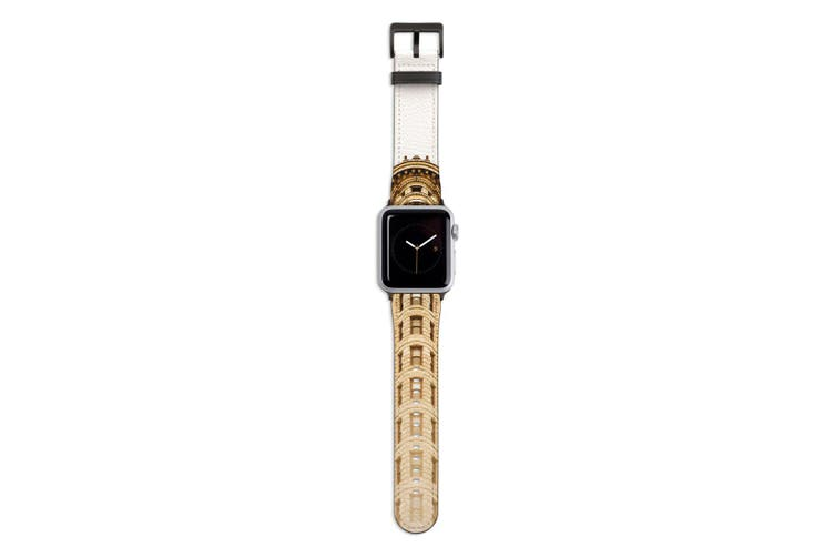For Apple Watch Band 44mm/42mm PU Leather Black Lugs  Flatiron Building
