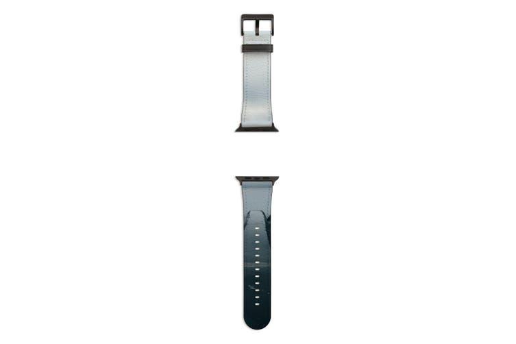 For Apple Watch Band 44mm/42mm PU Leather Black Lugs  Fog Dark Edge