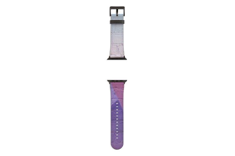 For Apple Watch Band 44mm/42mm PU Leather Black Lugs  Urban Brick Art