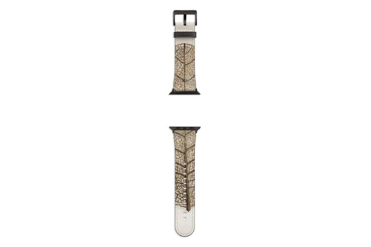 For Apple Watch Band 44mm/42mm PU Leather Black Lugs  Golden Leaf