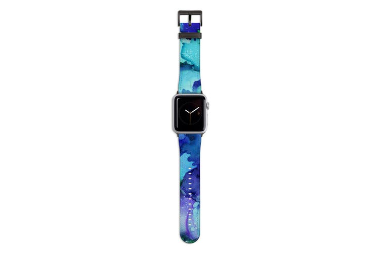 For Apple Watch Band 44mm/42mm PU Leather Black Lugs  Green Blue Watercolour