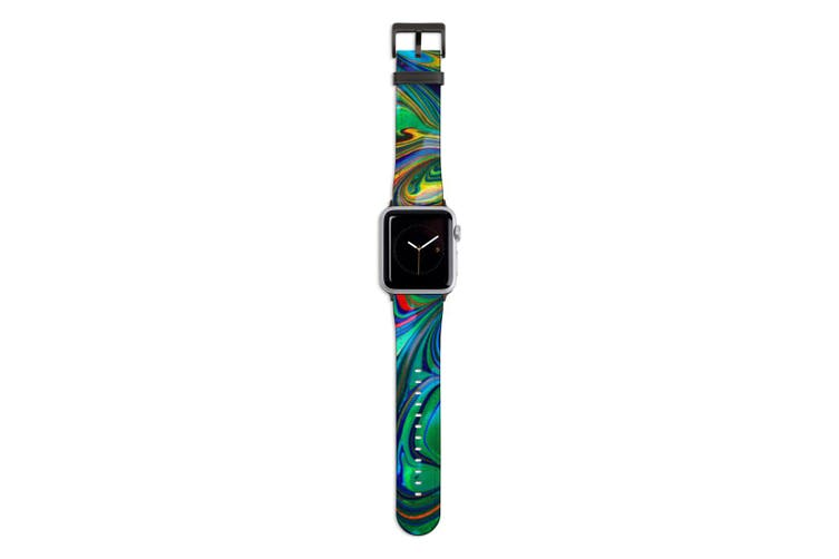 For Apple Watch Band 44mm/42mm PU Leather Black Lugs  Green Flowing Rainbow