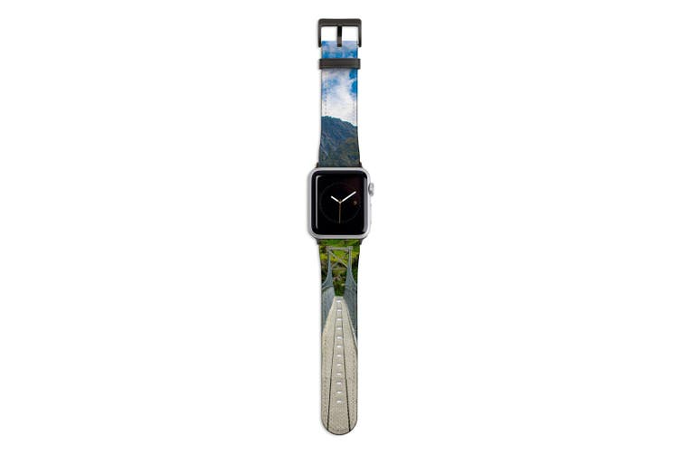 For Apple Watch Band 44mm/42mm PU Leather Black Lugs  Hanging Bridge