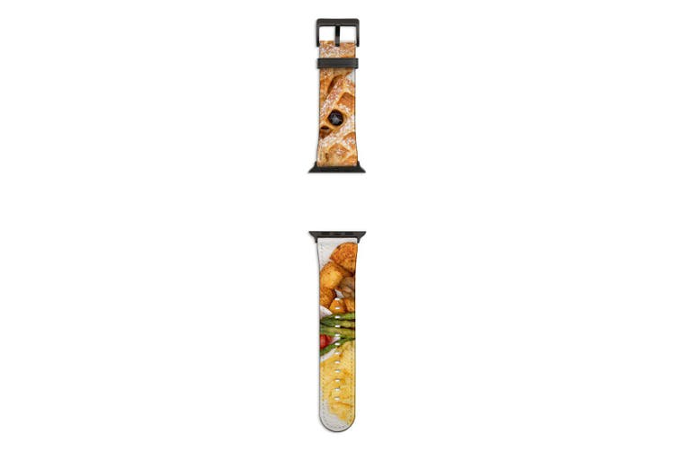 For Apple Watch Band 44mm/42mm PU Leather Black Lugs  Hotel Breakfast