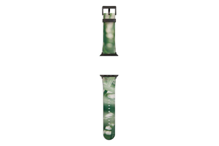 For Apple Watch Band 44mm/42mm PU Leather Black Lugs  Indoor Green Plant