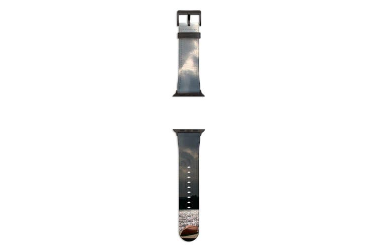 For Apple Watch Band 44mm/42mm PU Leather Black Lugs  Kayaks Dock