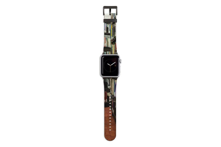 For Apple Watch Band 44mm/42mm PU Leather Black Lugs  Library Books
