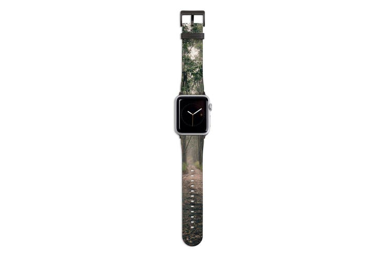 For Apple Watch Band 44mm/42mm PU Leather Black Lugs  Long Forest Path