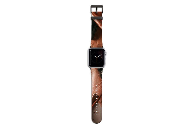 For Apple Watch Band 44mm/42mm PU Leather Black Lugs  Makeup Beauty Flatlay