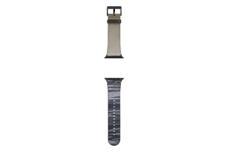 For Apple Watch Band 44mm/42mm PU Leather Black Lugs  Man Canoeing Water