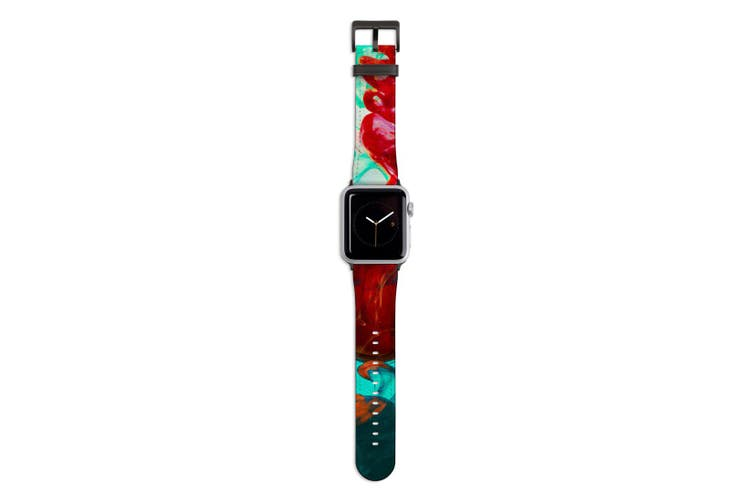 For Apple Watch Band 44mm/42mm PU Leather Black Lugs  Green Red Ink Drop