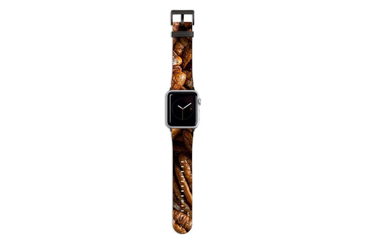 For Apple Watch Band 44mm/42mm PU Leather Black Lugs  Pecan Nuts