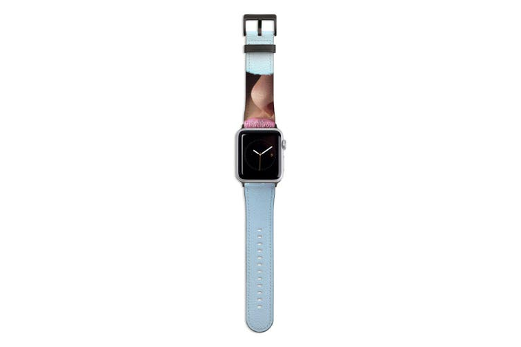 For Apple Watch Band 44mm/42mm PU Leather Black Lugs  Pink Lips