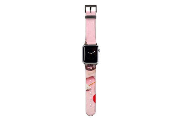 For Apple Watch Band 44mm/42mm PU Leather Black Lugs  Pug Dog