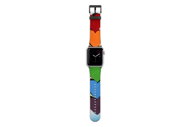 For Apple Watch Band 44mm/42mm PU Leather Black Lugs  Rainbow Hearts