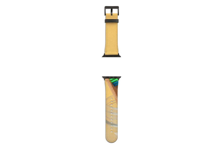 For Apple Watch Band 44mm/42mm PU Leather Black Lugs  Rainbow Toothbrush