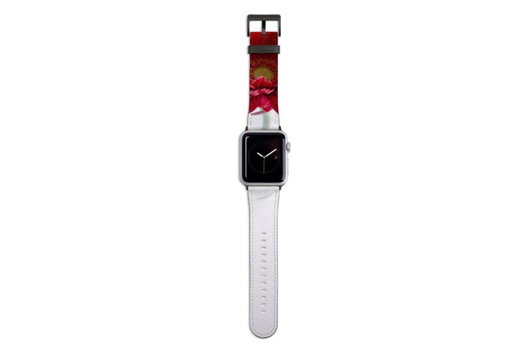 For Apple Watch Band 44mm/42mm PU Leather Black Lugs  Red Daisy White