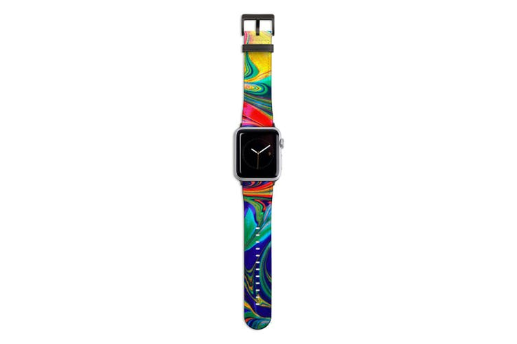 For Apple Watch Band 44mm/42mm PU Leather Black Lugs  Red Flowing Rainbow