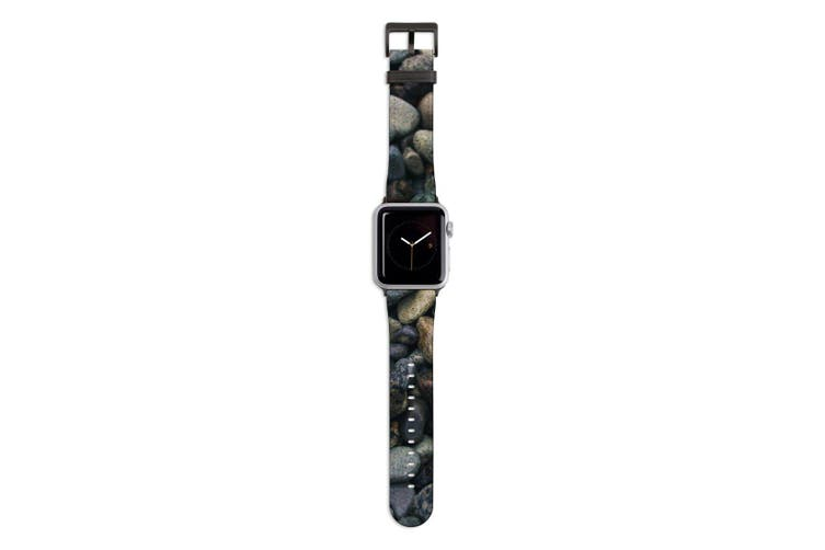 For Apple Watch Band 44mm/42mm PU Leather Black Lugs  River Stone Texture