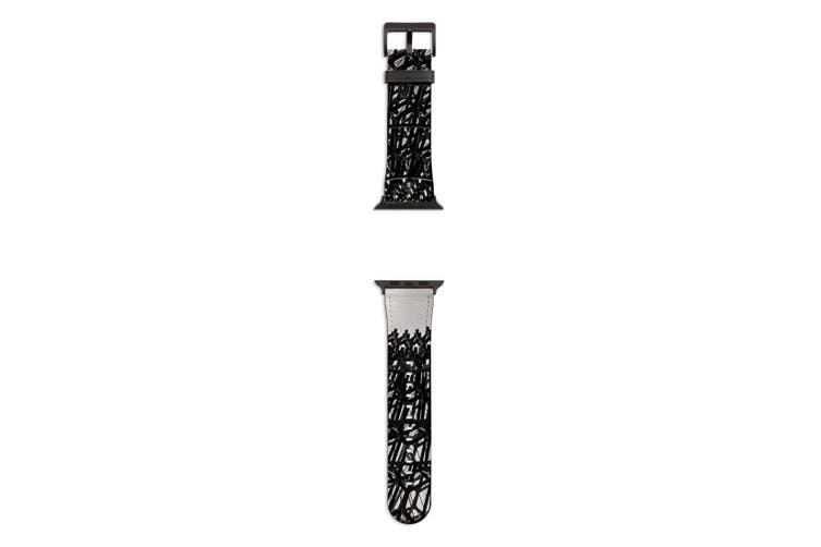 For Apple Watch Band 44mm/42mm PU Leather Black Lugs  Wrought Iron Dome