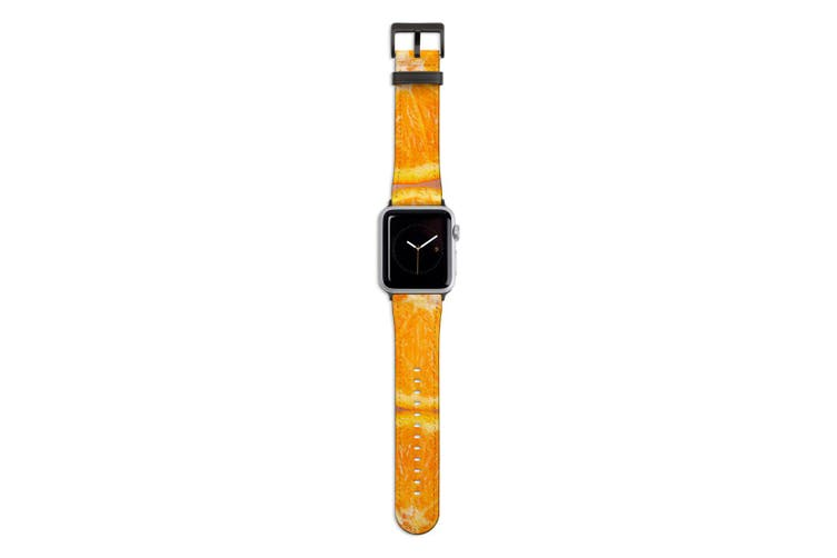 For Apple Watch Band 44mm/42mm PU Leather Black Lugs  Sliced Oranges