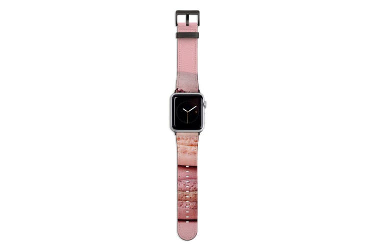 For Apple Watch Band 44mm/42mm PU Leather Black Lugs  Pink Macarons
