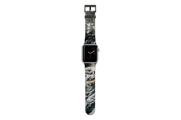For Apple Watch Band 44mm/42mm PU Leather Black Lugs  Stone Pattern