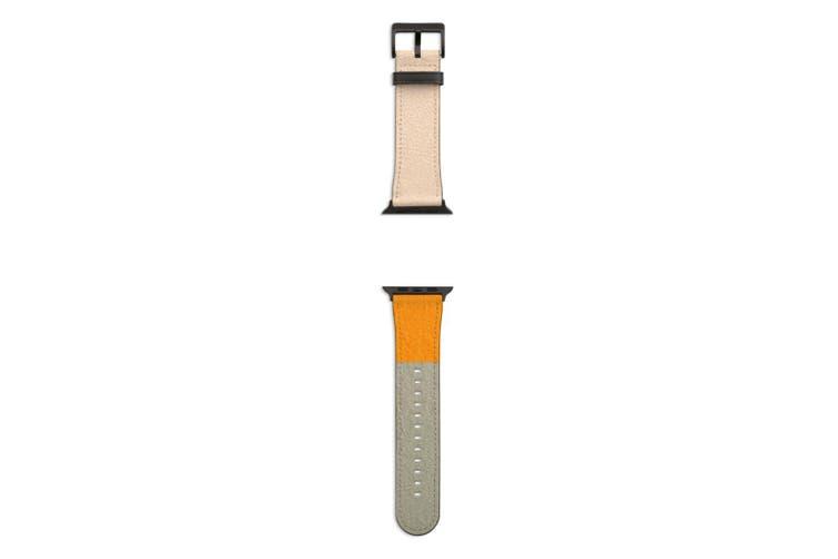 For Apple Watch Band 44mm/42mm PU Leather Black Lugs  Sundown