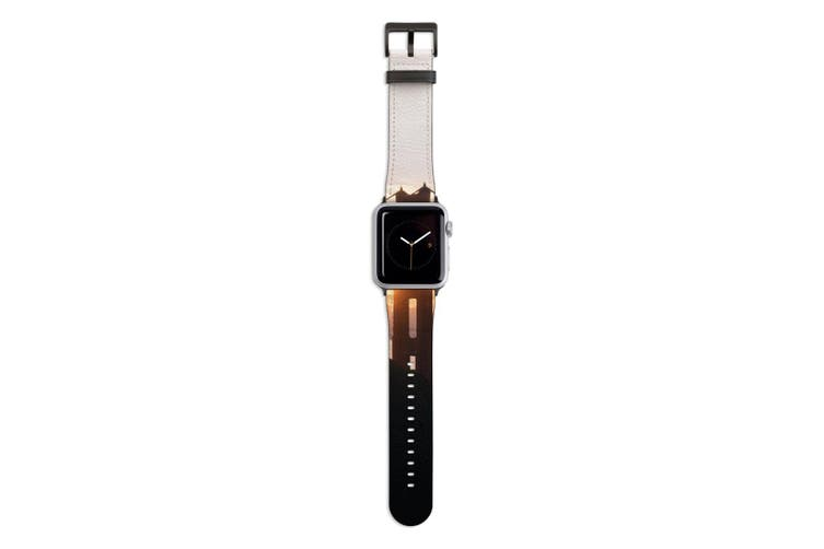 For Apple Watch Band 44mm/42mm PU Leather Black Lugs  Golden Gate Sunset