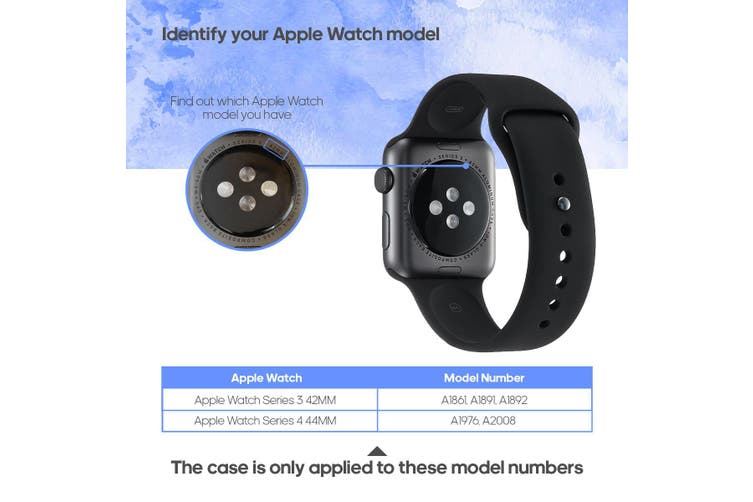 For Apple Watch Band 44mm/42mm PU Leather Black Lugs  Blue Wood Cladding
