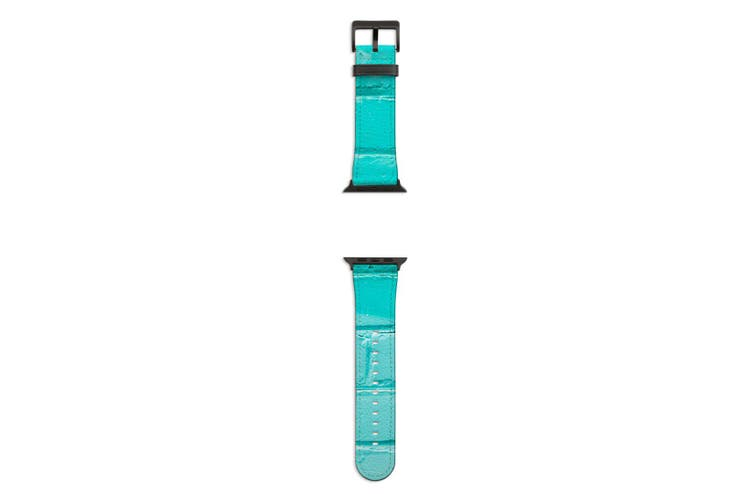 For Apple Watch Band 44mm/42mm PU Leather Black Lugs  Turquoise Brick Wall