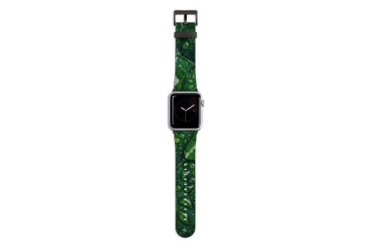 For Apple Watch Band 44mm/42mm PU Leather Black Lugs  Water Droplets Green