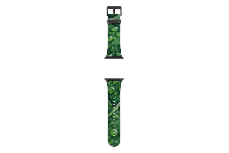 For Apple Watch Band 44mm/42mm PU Leather Black Lugs  Water Drops Leaf